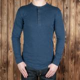 1927 Henley Shirt long sleeve indigo melange