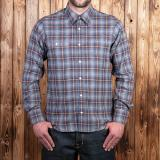 1937 Roamer Shirt blue brown check flannel