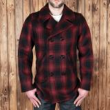 1938 Pea Coat red check wool