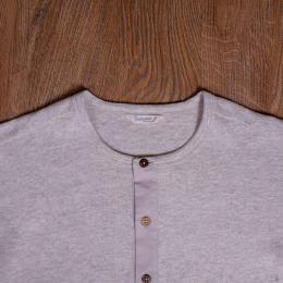 1927 Henley Shirt long sleeve ecru melange