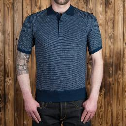 1954 Polo Shirt indigo fine striped